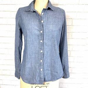 J. Crew L/S Polka Dot Chambray Button-Down Shirt